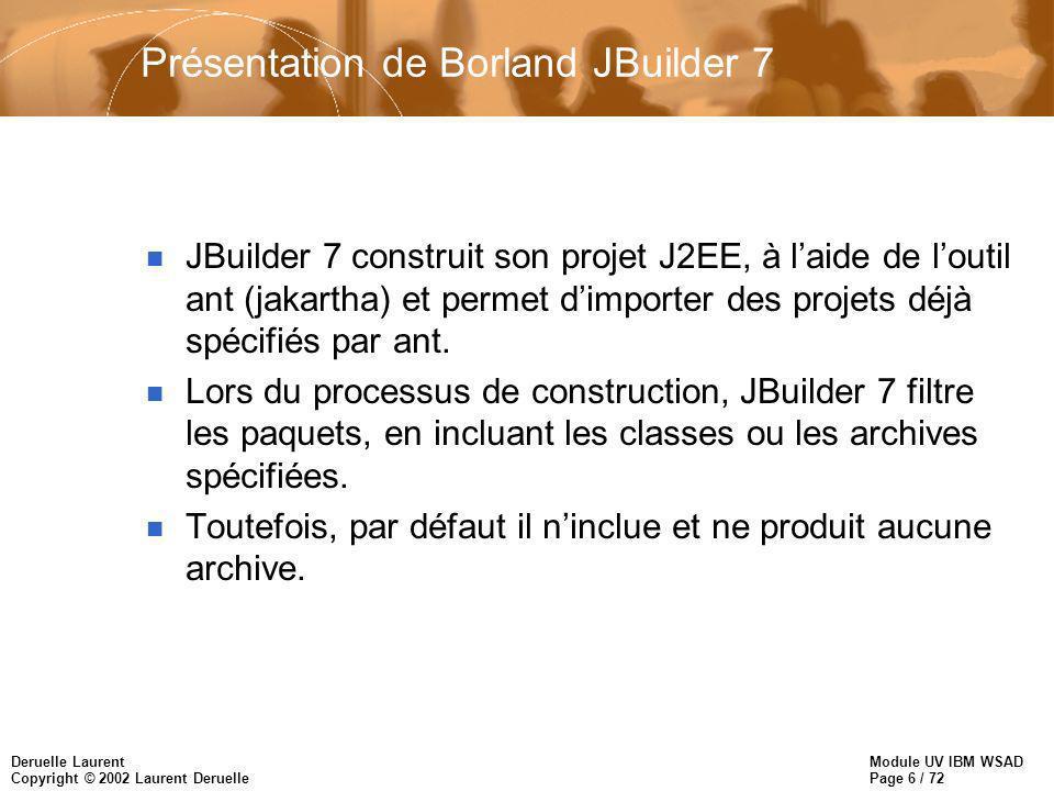 Module UV IBM WSAD Page 6 / 72 Deruelle Laurent Copyright © 2002 Laurent Deruelle Présentation de Borland JBuilder 7 n JBuilder 7 construit son projet