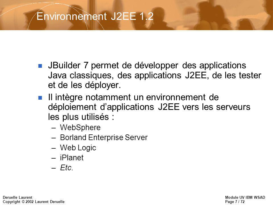 Module UV IBM WSAD Page 7 / 72 Deruelle Laurent Copyright © 2002 Laurent Deruelle Environnement J2EE 1.2 n JBuilder 7 permet de développer des applica