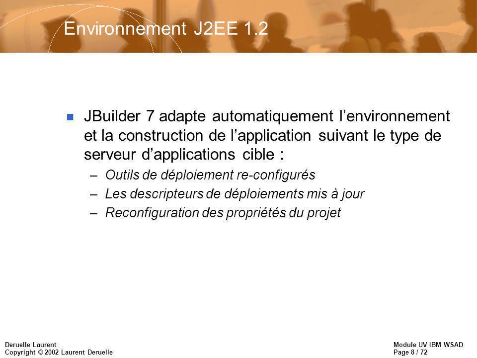 Module UV IBM WSAD Page 8 / 72 Deruelle Laurent Copyright © 2002 Laurent Deruelle Environnement J2EE 1.2 n JBuilder 7 adapte automatiquement lenvironn