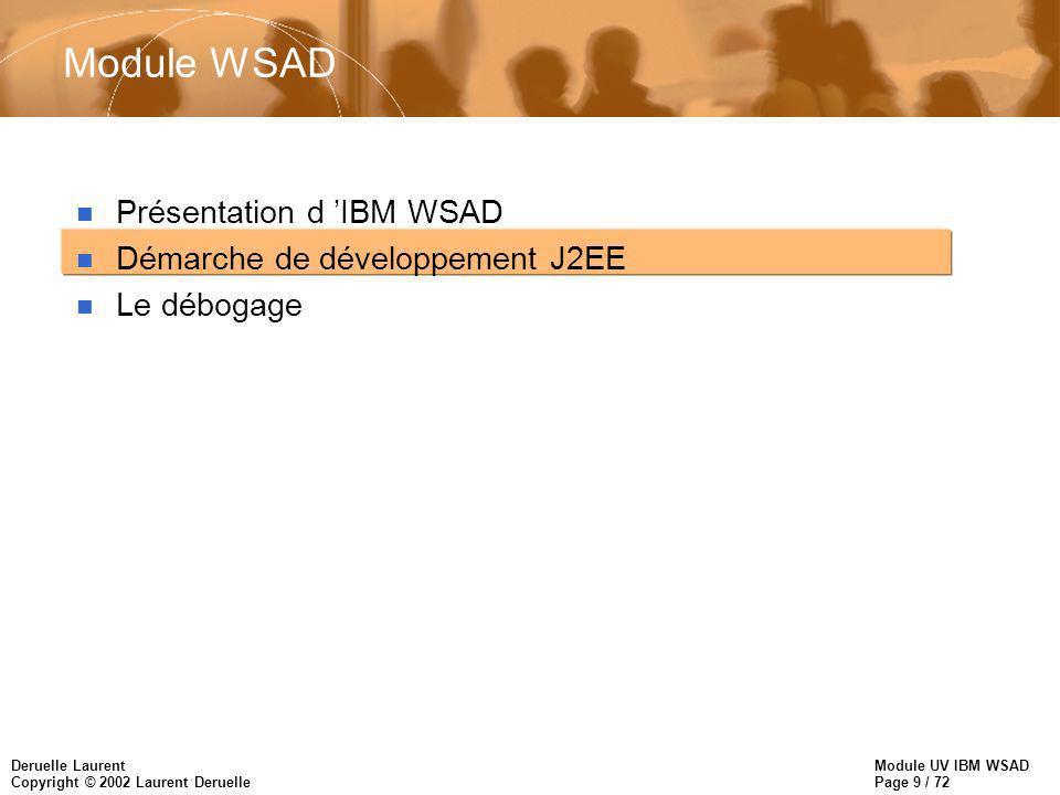 Module UV IBM WSAD Page 9 / 72 Deruelle Laurent Copyright © 2002 Laurent Deruelle Module WSAD n Présentation d IBM WSAD n Démarche de développement J2