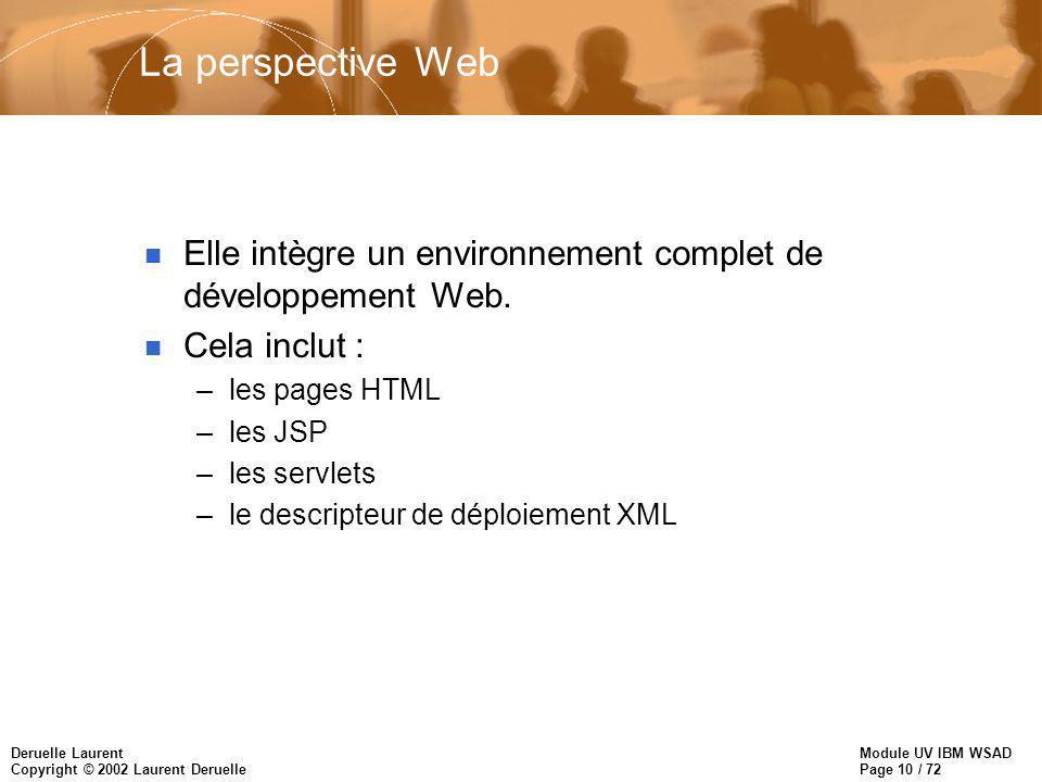 Module UV IBM WSAD Page 10 / 72 Deruelle Laurent Copyright © 2002 Laurent Deruelle La perspective Web n Elle intègre un environnement complet de dével