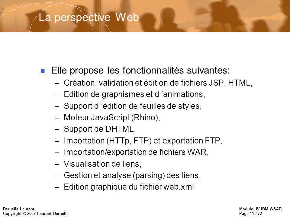 Module UV IBM WSAD Page 11 / 72 Deruelle Laurent Copyright © 2002 Laurent Deruelle La perspective Web n Elle propose les fonctionnalités suivantes: –C