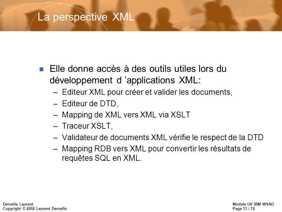 Module UV IBM WSAD Page 13 / 72 Deruelle Laurent Copyright © 2002 Laurent Deruelle La perspective XML n Elle donne accès à des outils utiles lors du d