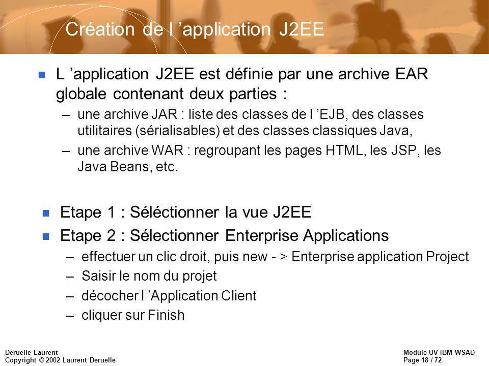 Module UV IBM WSAD Page 18 / 72 Deruelle Laurent Copyright © 2002 Laurent Deruelle Création de l application J2EE n L application J2EE est définie par une archive EAR globale contenant deux parties : –une archive JAR : liste des classes de l EJB, des classes utilitaires (sérialisables) et des classes classiques Java, –une archive WAR : regroupant les pages HTML, les JSP, les Java Beans, etc.