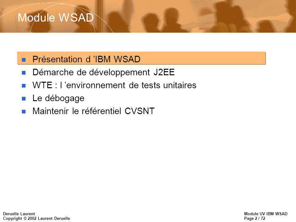 Module UV IBM WSAD Page 13 / 72 Deruelle Laurent Copyright © 2002 Laurent Deruelle La perspective XML n Elle donne accès à des outils utiles lors du développement d applications XML: –Editeur XML pour créer et valider les documents, –Editeur de DTD, –Mapping de XML vers XML via XSLT –Traceur XSLT, –Validateur de documents XML vérifie le respect de la DTD –Mapping RDB vers XML pour convertir les résultats de requêtes SQL en XML.