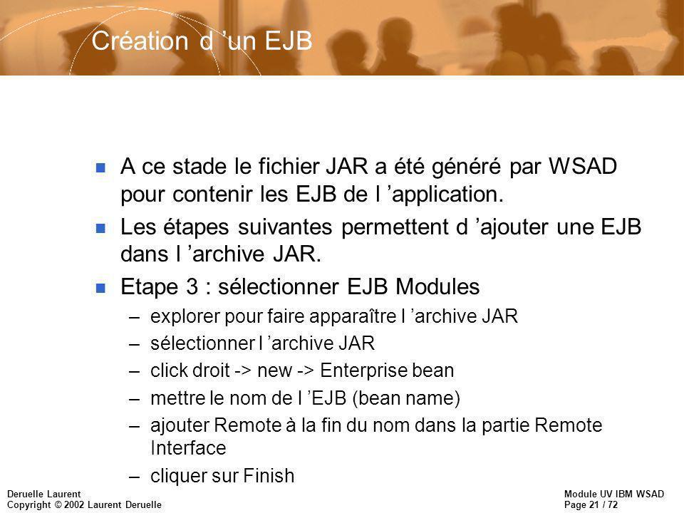 Module UV IBM WSAD Page 21 / 72 Deruelle Laurent Copyright © 2002 Laurent Deruelle Création d un EJB n A ce stade le fichier JAR a été généré par WSAD pour contenir les EJB de l application.