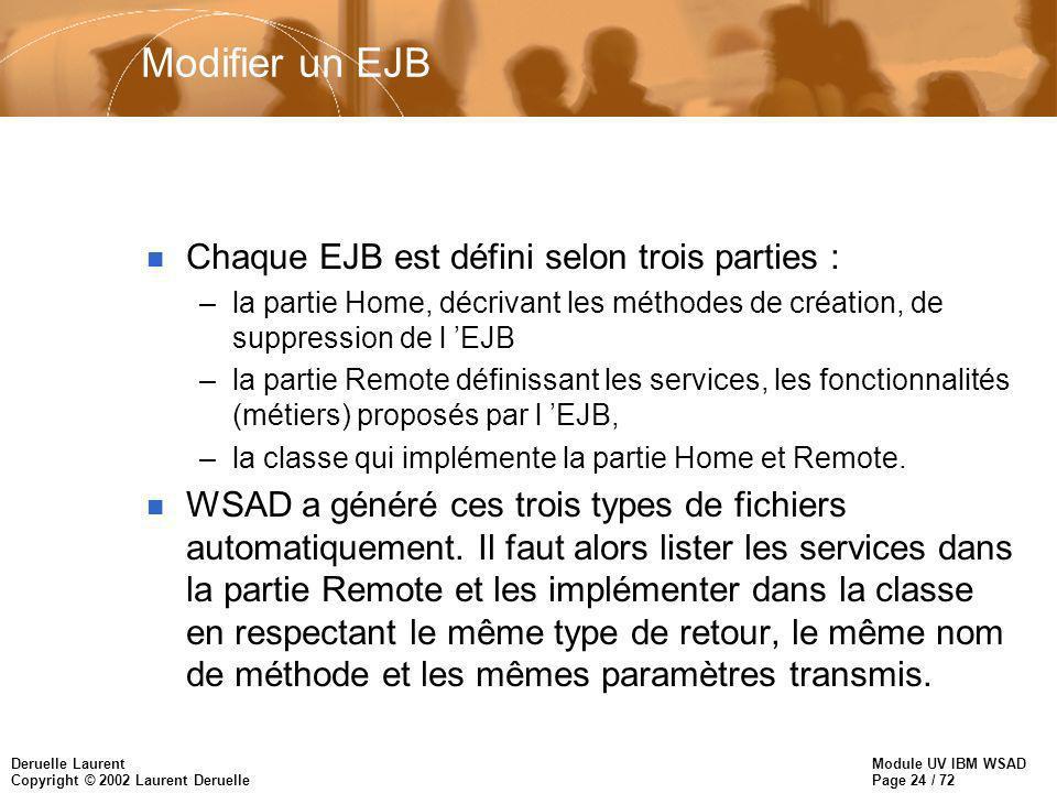Module UV IBM WSAD Page 24 / 72 Deruelle Laurent Copyright © 2002 Laurent Deruelle Modifier un EJB n Chaque EJB est défini selon trois parties : –la partie Home, décrivant les méthodes de création, de suppression de l EJB –la partie Remote définissant les services, les fonctionnalités (métiers) proposés par l EJB, –la classe qui implémente la partie Home et Remote.