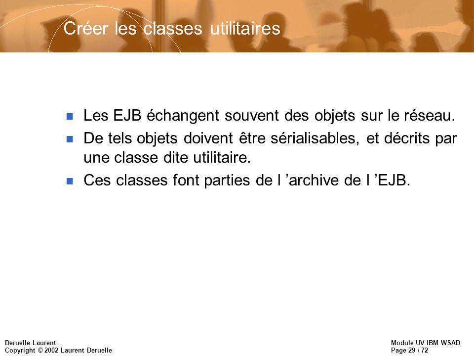 Module UV IBM WSAD Page 29 / 72 Deruelle Laurent Copyright © 2002 Laurent Deruelle Créer les classes utilitaires n Les EJB échangent souvent des objet