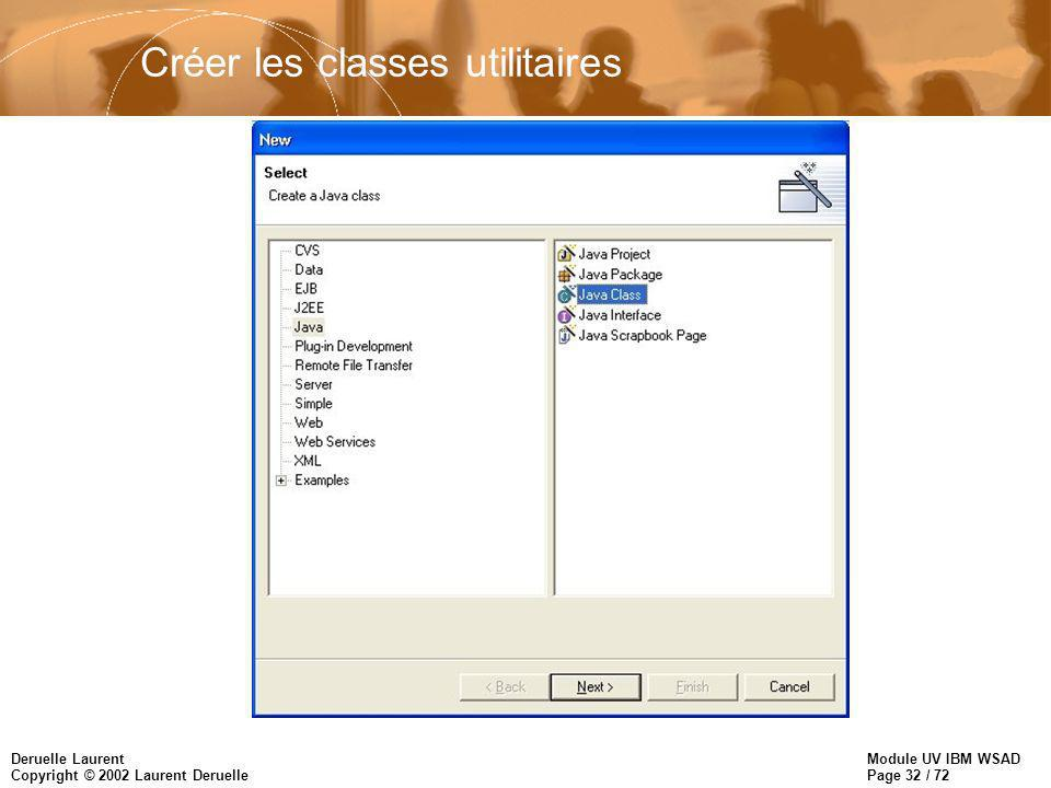 Module UV IBM WSAD Page 32 / 72 Deruelle Laurent Copyright © 2002 Laurent Deruelle Créer les classes utilitaires