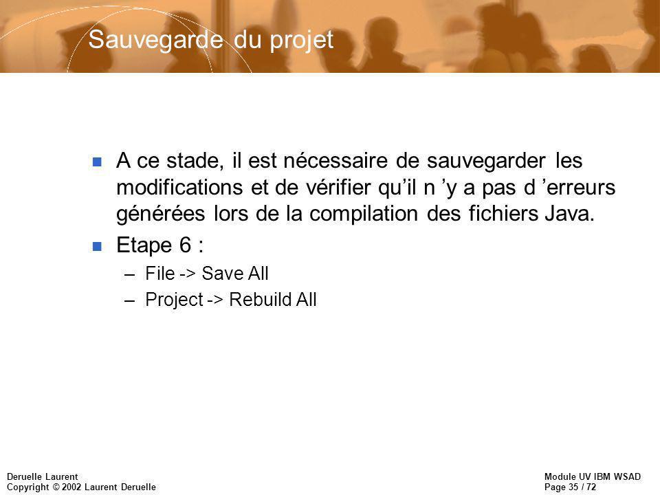 Module UV IBM WSAD Page 35 / 72 Deruelle Laurent Copyright © 2002 Laurent Deruelle Sauvegarde du projet n A ce stade, il est nécessaire de sauvegarder les modifications et de vérifier quil n y a pas d erreurs générées lors de la compilation des fichiers Java.