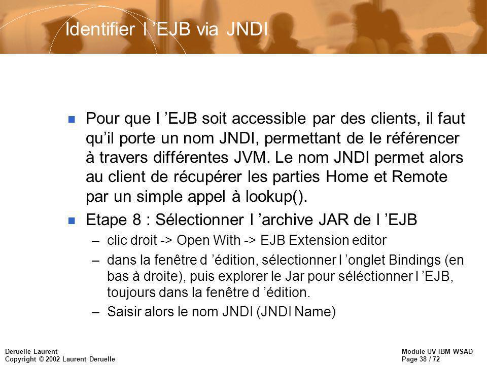 Module UV IBM WSAD Page 38 / 72 Deruelle Laurent Copyright © 2002 Laurent Deruelle Identifier l EJB via JNDI n Pour que l EJB soit accessible par des
