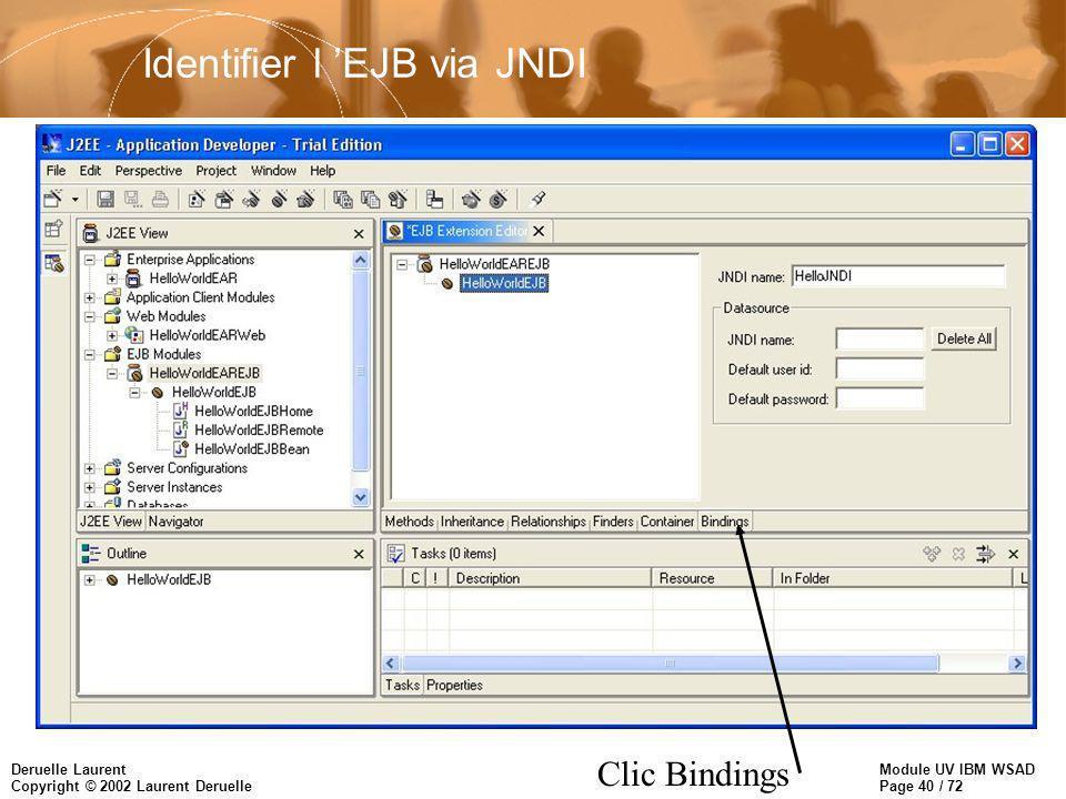 Module UV IBM WSAD Page 40 / 72 Deruelle Laurent Copyright © 2002 Laurent Deruelle Identifier l EJB via JNDI Clic Bindings