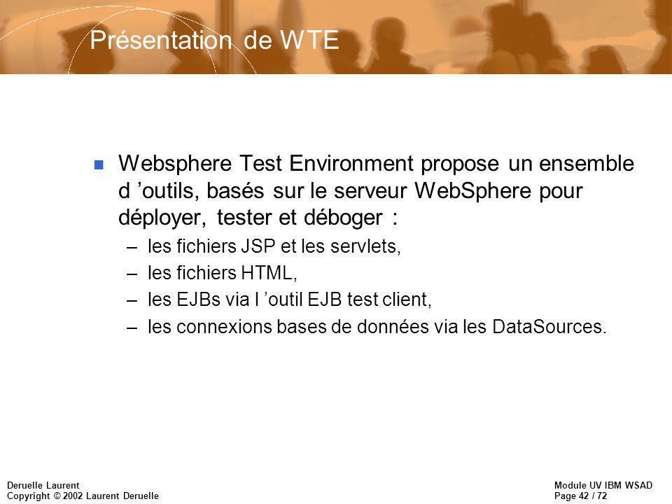 Module UV IBM WSAD Page 42 / 72 Deruelle Laurent Copyright © 2002 Laurent Deruelle Présentation de WTE n Websphere Test Environment propose un ensemble d outils, basés sur le serveur WebSphere pour déployer, tester et déboger : –les fichiers JSP et les servlets, –les fichiers HTML, –les EJBs via l outil EJB test client, –les connexions bases de données via les DataSources.