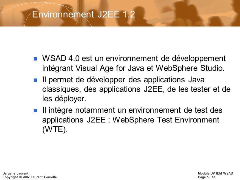 Module UV IBM WSAD Page 5 / 72 Deruelle Laurent Copyright © 2002 Laurent Deruelle Environnement J2EE 1.2 n WSAD 4.0 est un environnement de développement intégrant Visual Age for Java et WebSphere Studio.