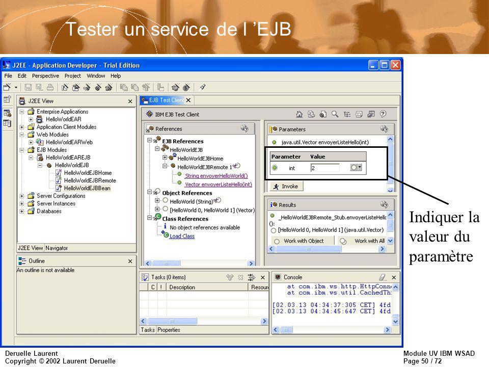 Module UV IBM WSAD Page 50 / 72 Deruelle Laurent Copyright © 2002 Laurent Deruelle Tester un service de l EJB Indiquer la valeur du paramètre