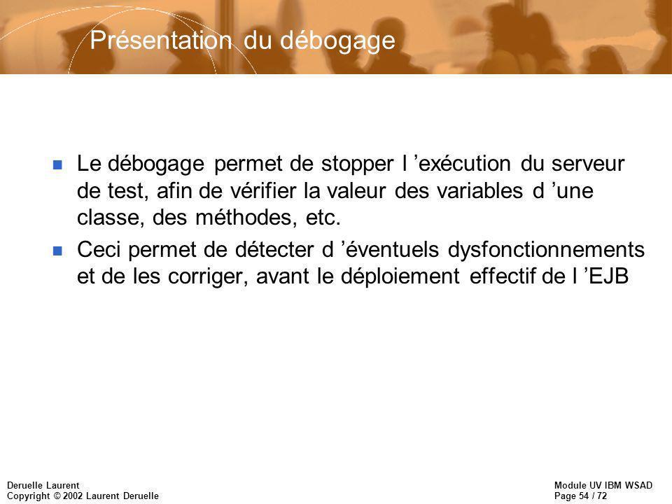 Module UV IBM WSAD Page 54 / 72 Deruelle Laurent Copyright © 2002 Laurent Deruelle Présentation du débogage n Le débogage permet de stopper l exécution du serveur de test, afin de vérifier la valeur des variables d une classe, des méthodes, etc.