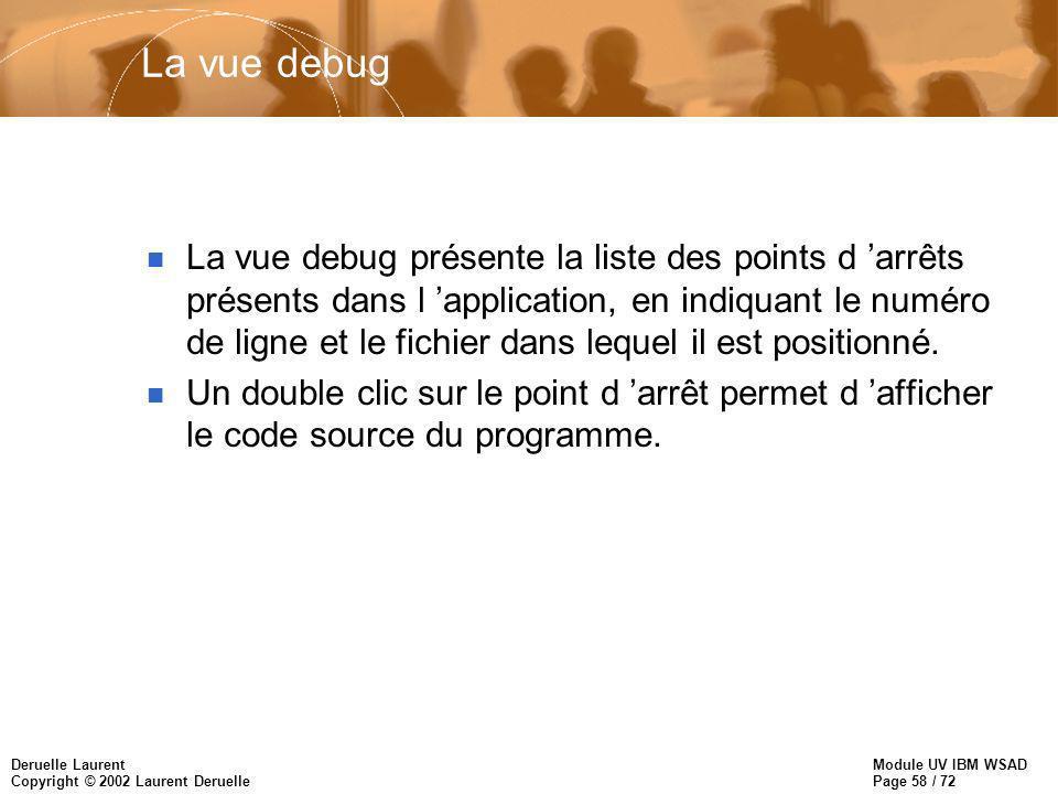 Module UV IBM WSAD Page 58 / 72 Deruelle Laurent Copyright © 2002 Laurent Deruelle La vue debug n La vue debug présente la liste des points d arrêts présents dans l application, en indiquant le numéro de ligne et le fichier dans lequel il est positionné.