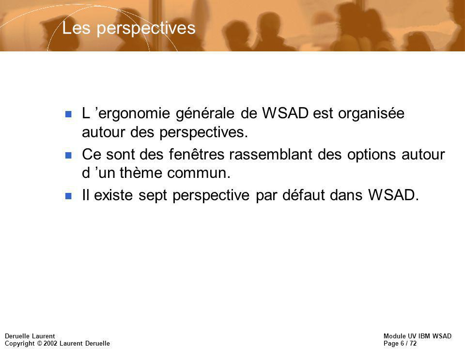 Module UV IBM WSAD Page 6 / 72 Deruelle Laurent Copyright © 2002 Laurent Deruelle Les perspectives n L ergonomie générale de WSAD est organisée autour des perspectives.