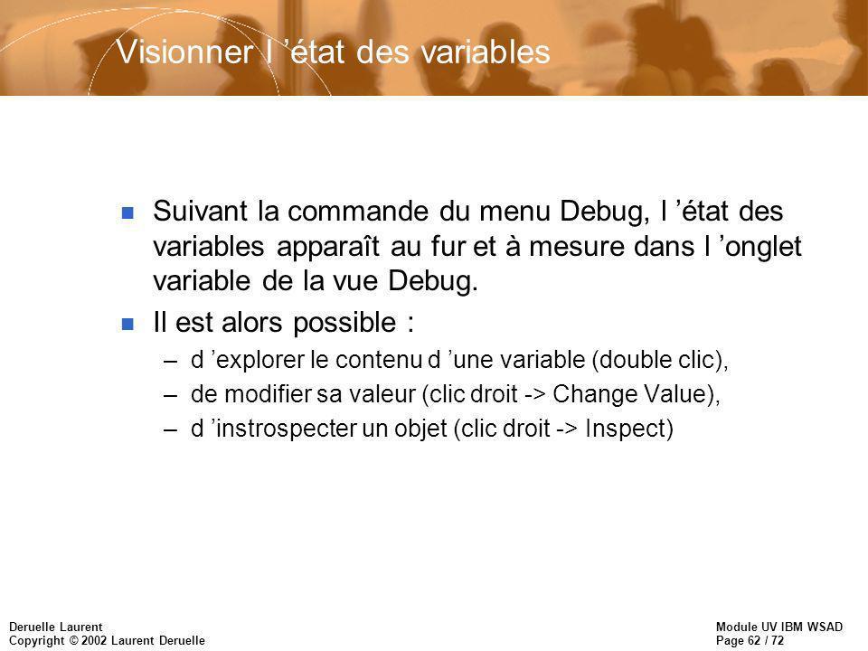 Module UV IBM WSAD Page 62 / 72 Deruelle Laurent Copyright © 2002 Laurent Deruelle Visionner l état des variables n Suivant la commande du menu Debug, l état des variables apparaît au fur et à mesure dans l onglet variable de la vue Debug.