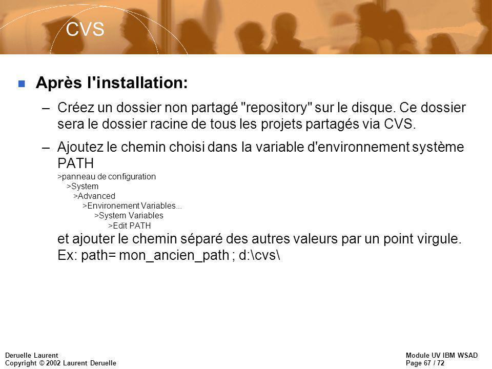 Module UV IBM WSAD Page 67 / 72 Deruelle Laurent Copyright © 2002 Laurent Deruelle CVS n Après l installation: –Créez un dossier non partagé repository sur le disque.