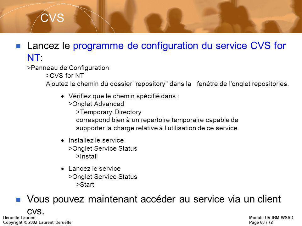 Module UV IBM WSAD Page 68 / 72 Deruelle Laurent Copyright © 2002 Laurent Deruelle CVS n Lancez le programme de configuration du service CVS for NT: >