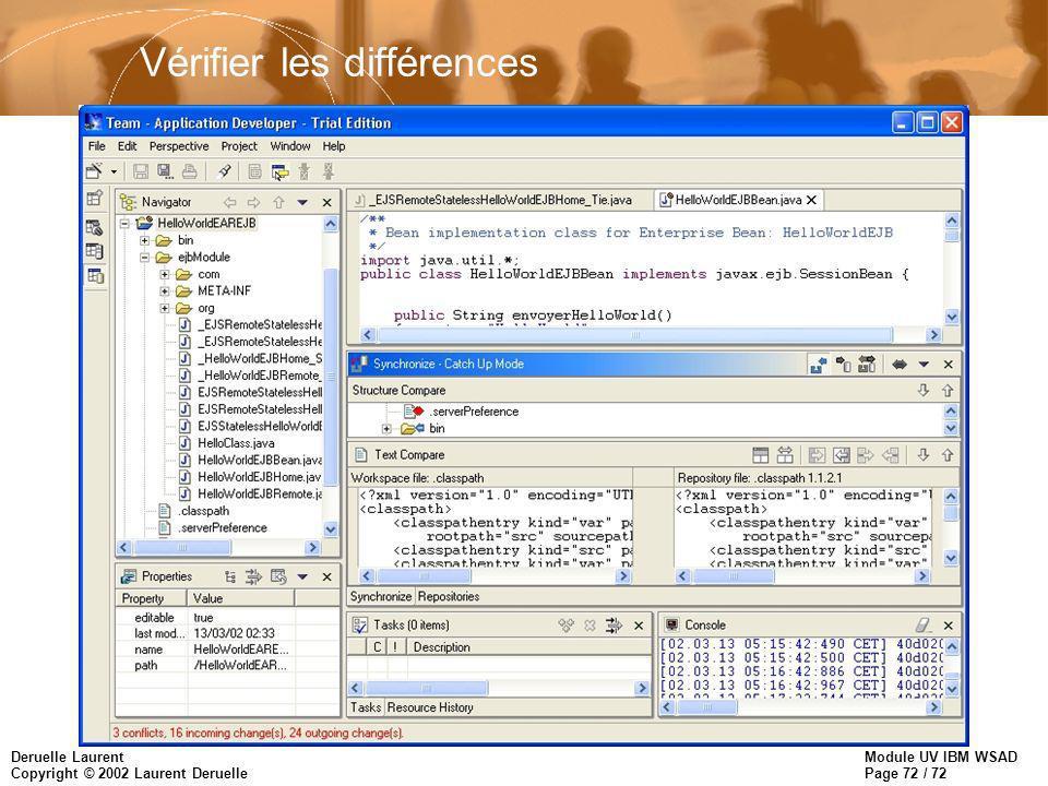 Module UV IBM WSAD Page 72 / 72 Deruelle Laurent Copyright © 2002 Laurent Deruelle Vérifier les différences