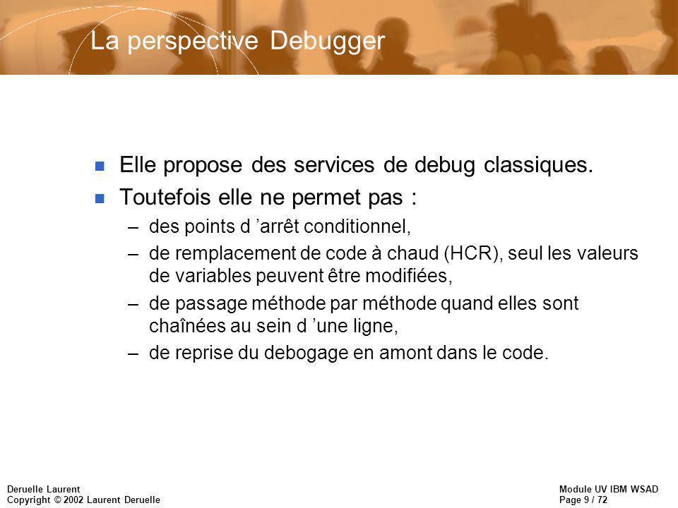 Module UV IBM WSAD Page 9 / 72 Deruelle Laurent Copyright © 2002 Laurent Deruelle La perspective Debugger n Elle propose des services de debug classiques.