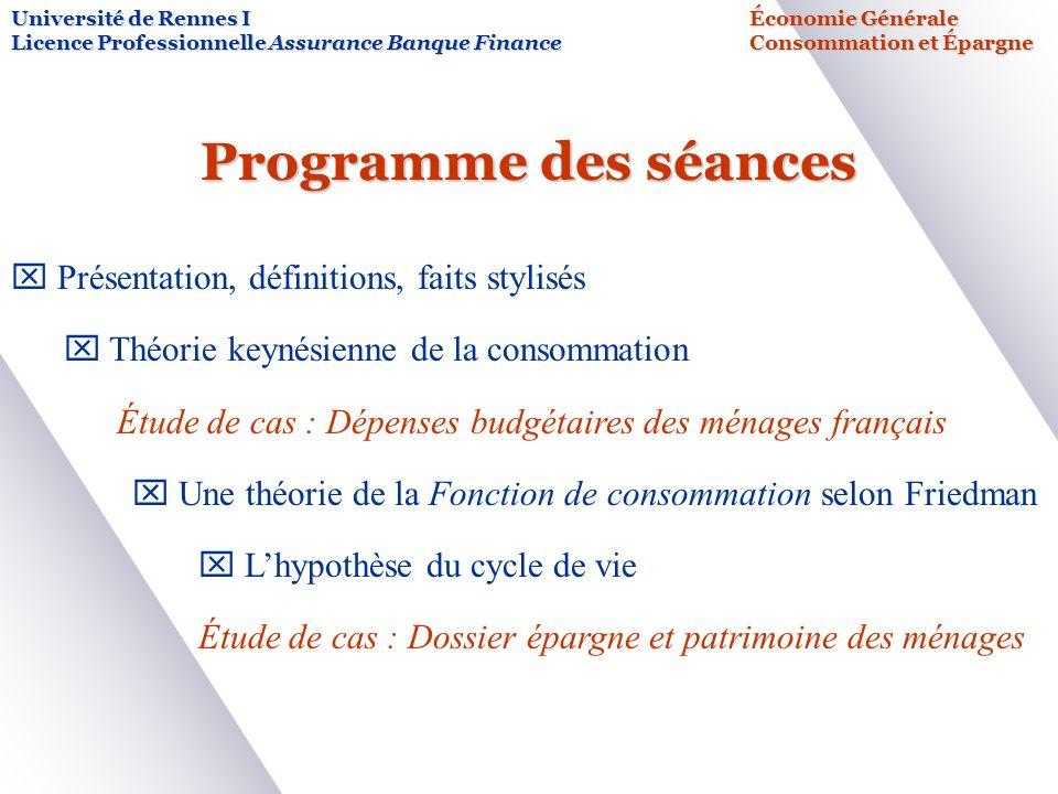 Programme des séances x Présentation, définitions, faits stylisés x Théorie keynésienne de la consommation Étude de cas : Dépenses budgétaires des mén
