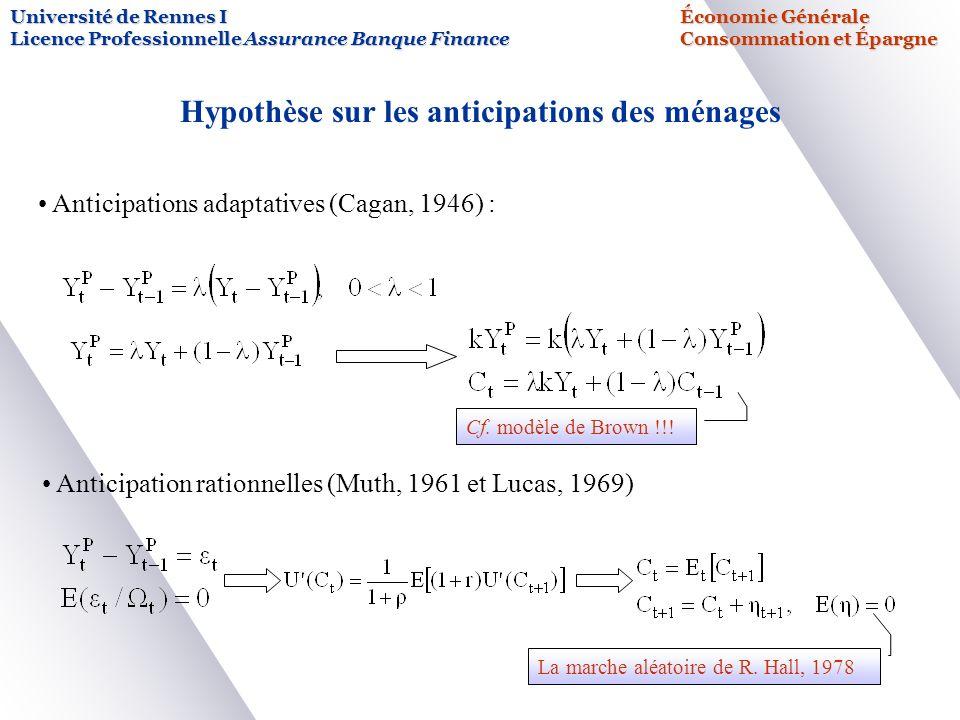 Université de Rennes IÉconomie Générale Licence Professionnelle Assurance Banque FinanceConsommation et Épargne Hypothèse sur les anticipations des mé