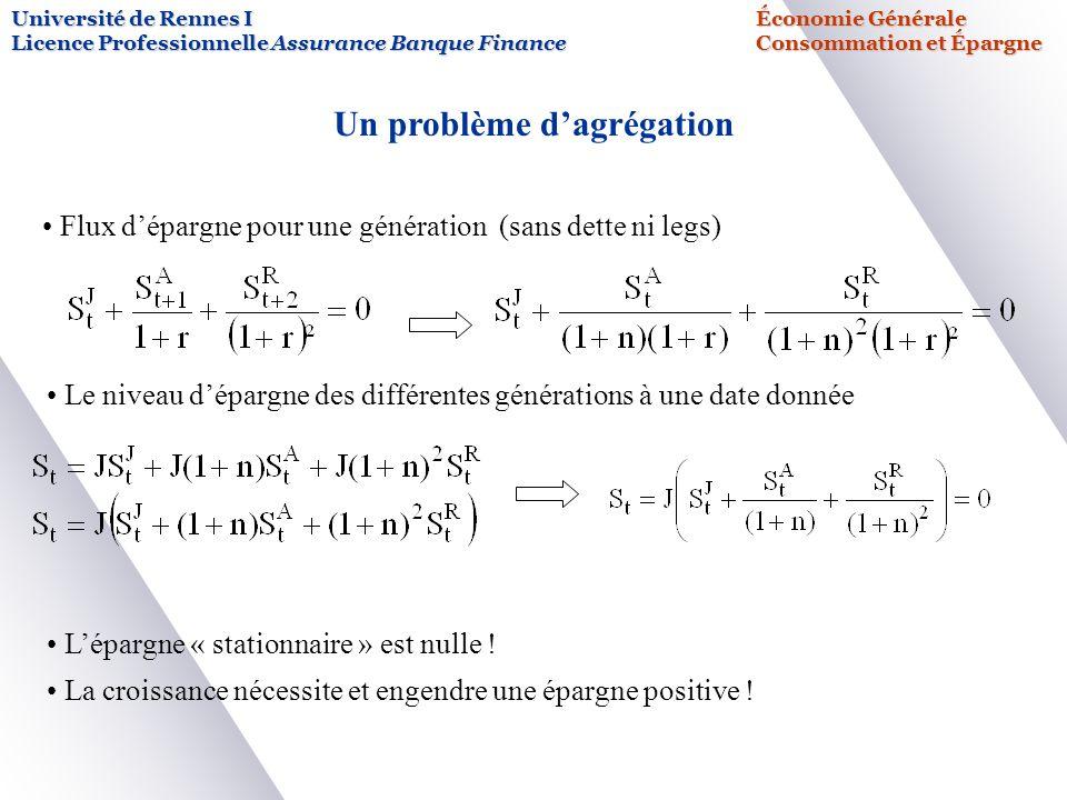 Université de Rennes IÉconomie Générale Licence Professionnelle Assurance Banque FinanceConsommation et Épargne Un problème dagrégation Flux dépargne