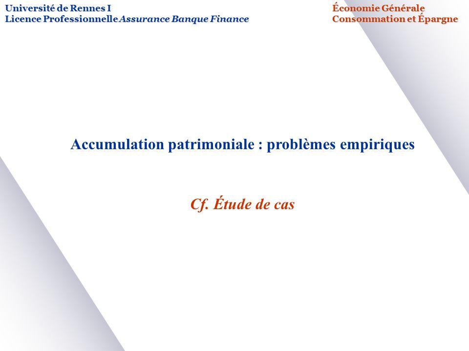 Université de Rennes IÉconomie Générale Licence Professionnelle Assurance Banque FinanceConsommation et Épargne Accumulation patrimoniale : problèmes empiriques Cf.