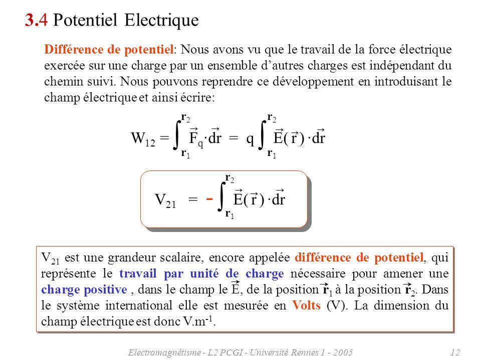 Electromagnétisme - L2 PCGI - Université Rennes 1 - 200512 3.4 Potentiel Electrique Différence de potentiel: Nous avons vu que le travail de la force