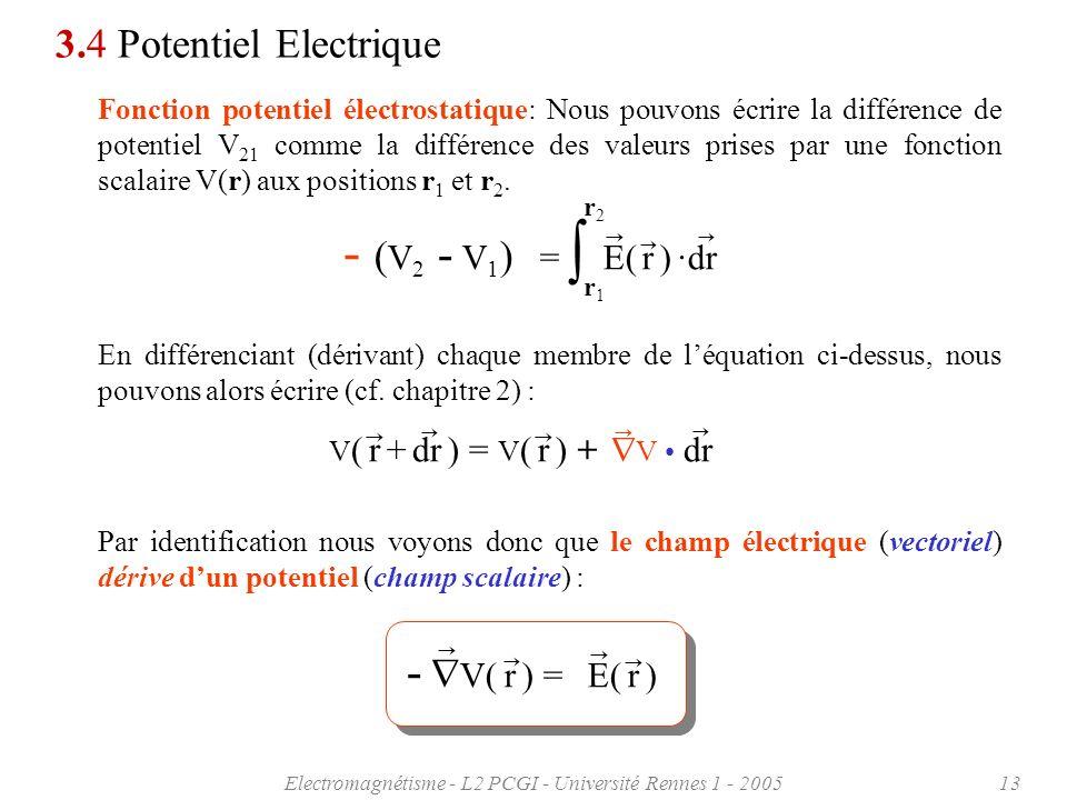 Electromagnétisme - L2 PCGI - Université Rennes 1 - 200513 3.4 Potentiel Electrique Fonction potentiel électrostatique: Nous pouvons écrire la différe