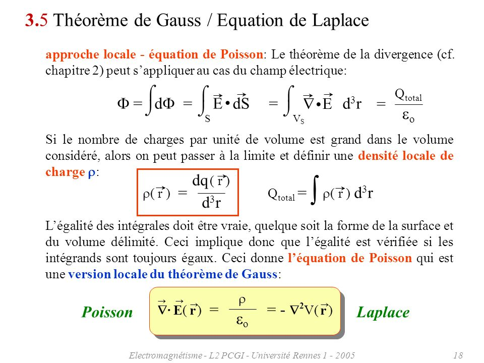 Electromagnétisme - L2 PCGI - Université Rennes 1 - 200518 3.5 Théorème de Gauss / Equation de Laplace approche locale - équation de Poisson: Le théor