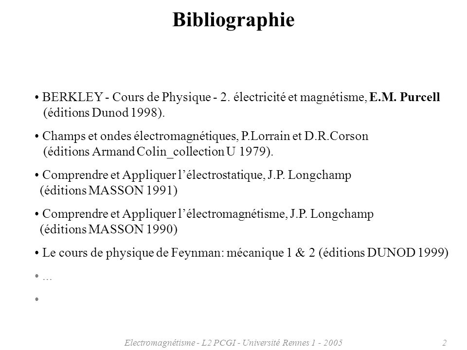 Electromagnétisme - L2 PCGI - Université Rennes 1 - 20052 Bibliographie BERKLEY - Cours de Physique - 2. électricité et magnétisme, E.M. Purcell (édit