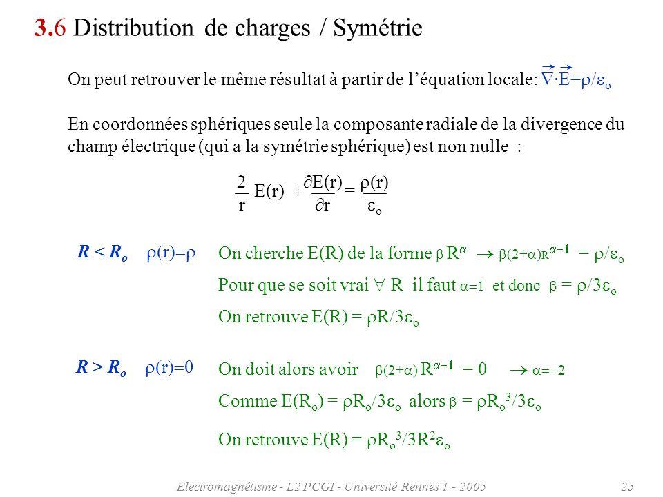 Electromagnétisme - L2 PCGI - Université Rennes 1 - 200525 3.6 Distribution de charges / Symétrie On peut retrouver le même résultat à partir de léqua