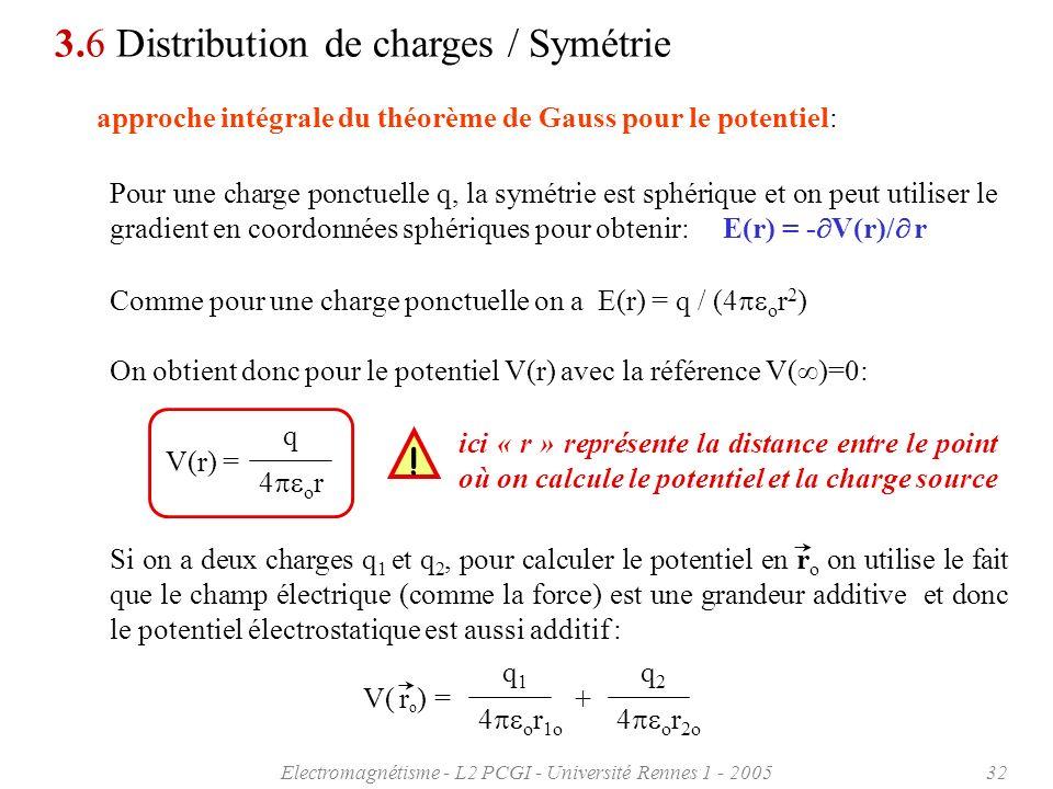 Electromagnétisme - L2 PCGI - Université Rennes 1 - 200532 approche intégrale du théorème de Gauss pour le potentiel: Pour une charge ponctuelle q, la