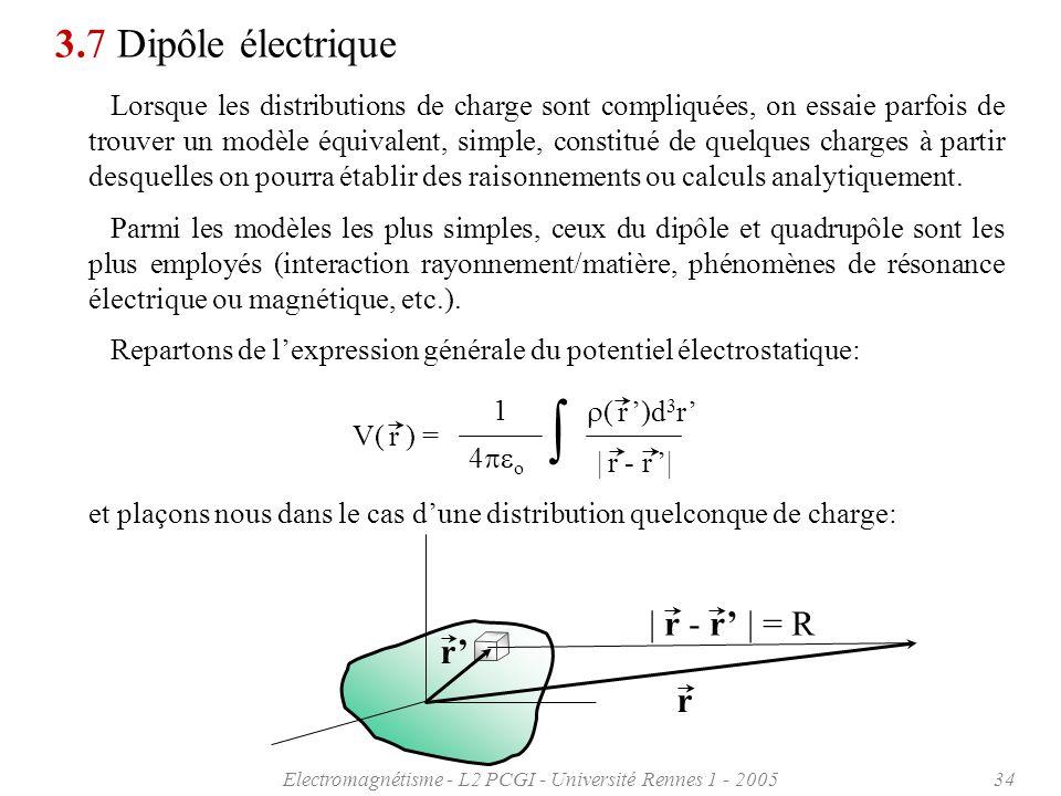 Electromagnétisme - L2 PCGI - Université Rennes 1 - 200534 3.7 Dipôle électrique Lorsque les distributions de charge sont compliquées, on essaie parfo