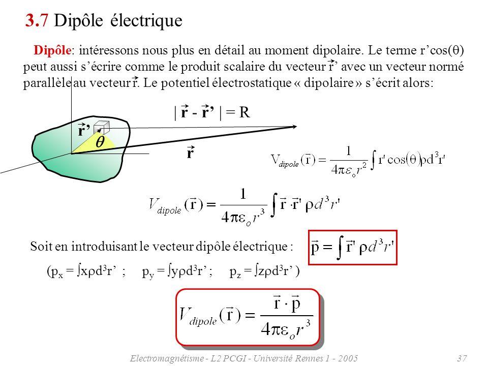 Electromagnétisme - L2 PCGI - Université Rennes 1 - 200537 3.7 Dipôle électrique Dipôle: intéressons nous plus en détail au moment dipolaire. Le terme