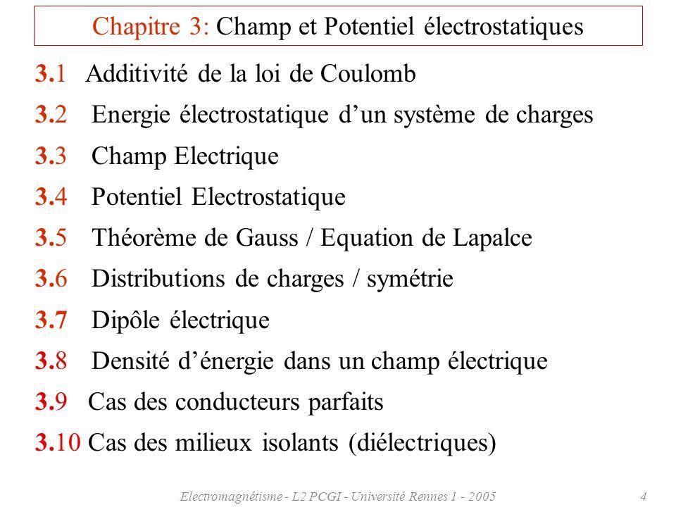 Electromagnétisme - L2 PCGI - Université Rennes 1 - 20054 Chapitre 3: Champ et Potentiel électrostatiques 3.1Additivité de la loi de Coulomb 3.2 Energ