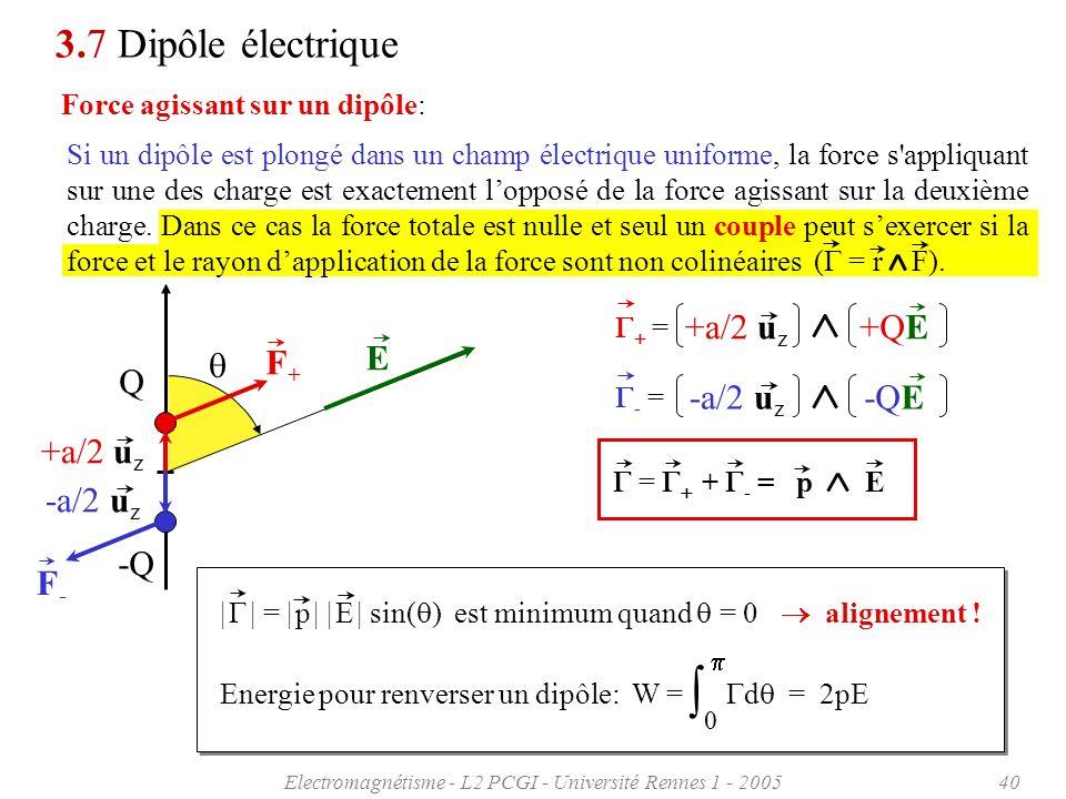 Electromagnétisme - L2 PCGI - Université Rennes 1 - 200540 3.7 Dipôle électrique Force agissant sur un dipôle: = +a/2 u z +QE - = -a/2 u z -QE = + - =