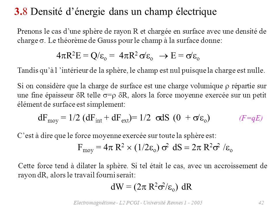 Electromagnétisme - L2 PCGI - Université Rennes 1 - 200542 3.8 Densité dénergie dans un champ électrique Prenons le cas dune sphère de rayon R et char