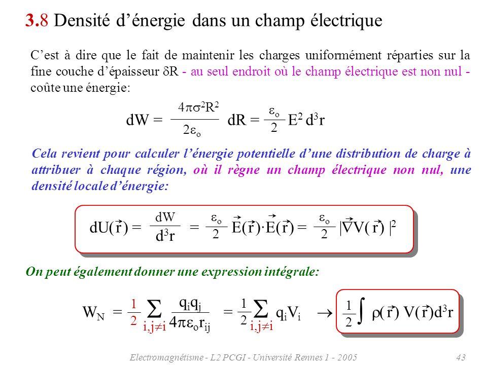 Electromagnétisme - L2 PCGI - Université Rennes 1 - 200543 3.8 Densité dénergie dans un champ électrique Cest à dire que le fait de maintenir les char