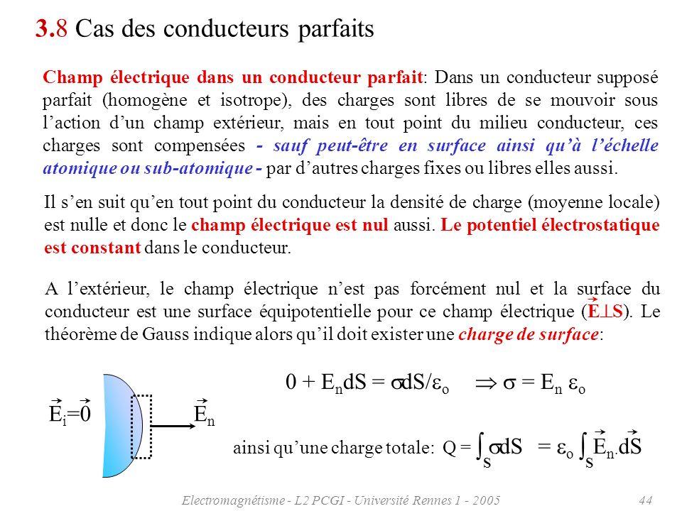 Electromagnétisme - L2 PCGI - Université Rennes 1 - 200544 3.8 Cas des conducteurs parfaits Champ électrique dans un conducteur parfait: Dans un condu