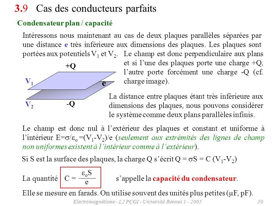 Electromagnétisme - L2 PCGI - Université Rennes 1 - 200550 Condensateur plan / capacité 3.9 Cas des conducteurs parfaits Intéressons nous maintenant a
