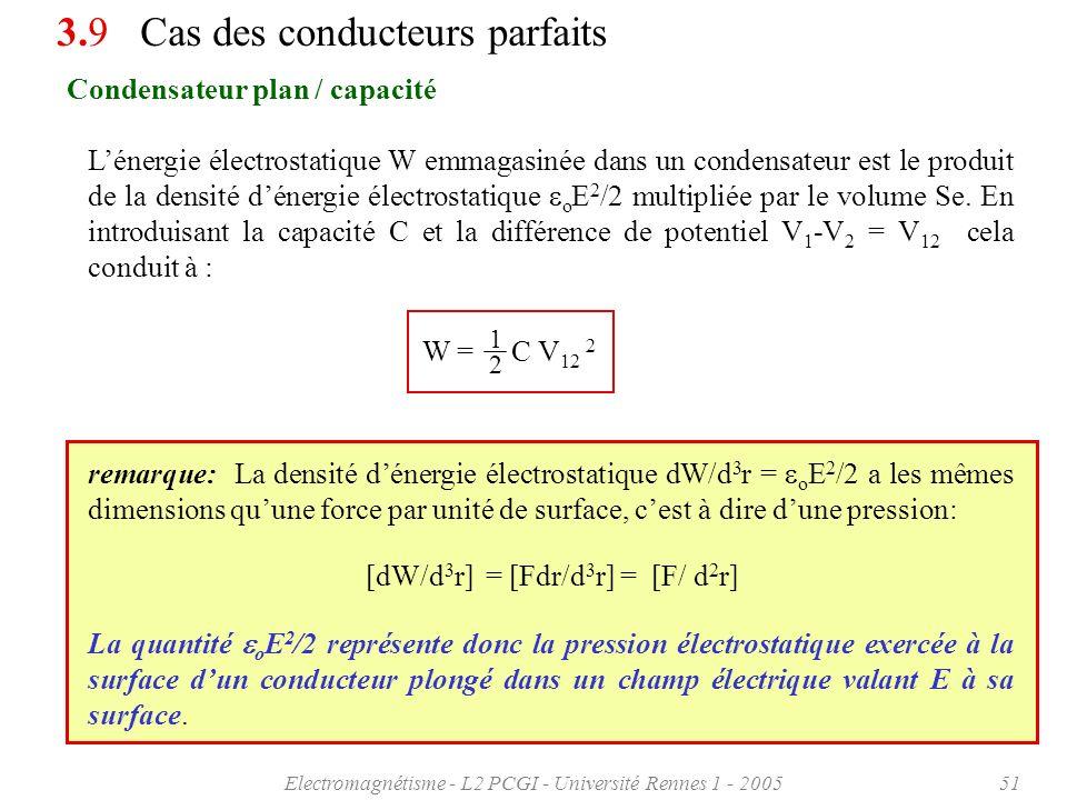 Electromagnétisme - L2 PCGI - Université Rennes 1 - 200551 Condensateur plan / capacité 3.9 Cas des conducteurs parfaits Lénergie électrostatique W em
