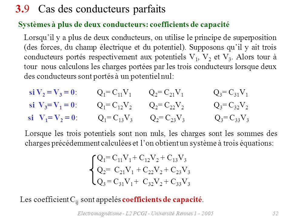 Electromagnétisme - L2 PCGI - Université Rennes 1 - 200552 Systèmes à plus de deux conducteurs: coefficients de capacité 3.9 Cas des conducteurs parfa