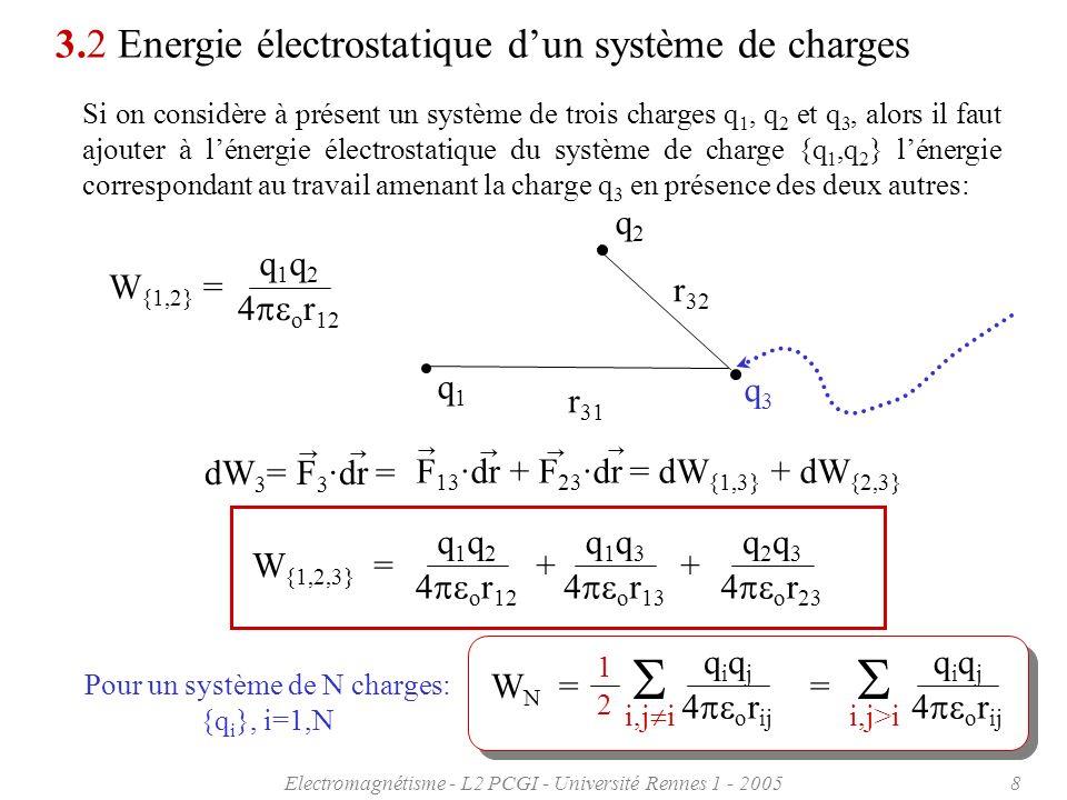 Electromagnétisme - L2 PCGI - Université Rennes 1 - 20058 r 31 r 32 3.2 Energie électrostatique dun système de charges Si on considère à présent un sy