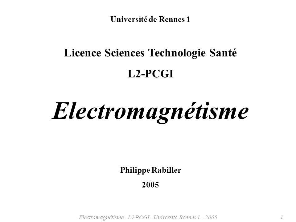 Electromagnétisme - L2 PCGI - Université Rennes 1 - 20052 Plan du cours ch.1 Introduction ch.2 Vecteurs et champs ch.3 Champ et Potentiel électrostatiques ch.4 Champ Magnétique ch.5 Induction électromagnétique ch.6 Propagation des ondes électromagnétiques ch.7 Rayonnement électromagnétique