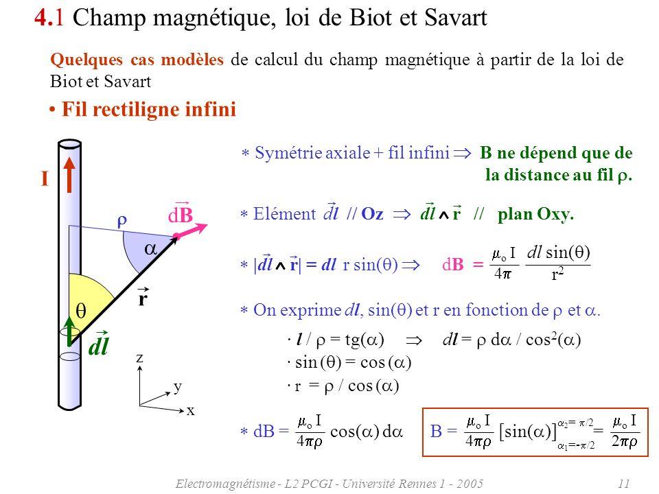 Electromagnétisme - L2 PCGI - Université Rennes 1 - 200511 On exprime dl, sin( ) et r en fonction de et. I 4.1 Champ magnétique, loi de Biot et Savart